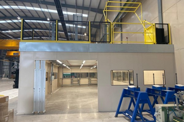 Installation of mezzanine flooring and partitioning