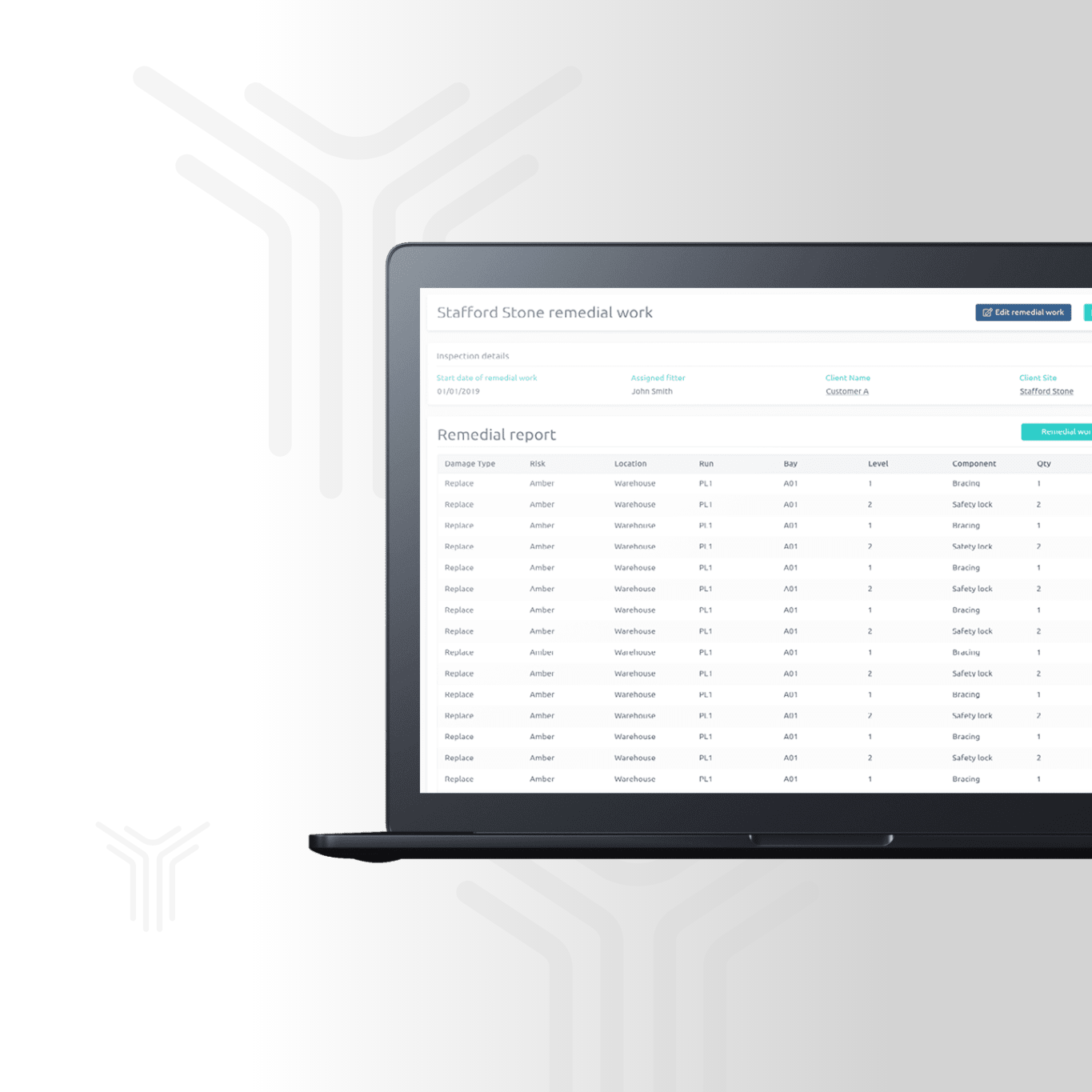 See your racking inspections, reports and damage, in real-time.